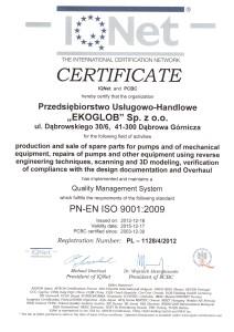 Certyfikat ISO EKOGLOB 2013r IQNet