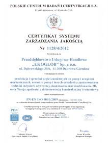 Certyfikat ISO EKOGLOB 2013r PL