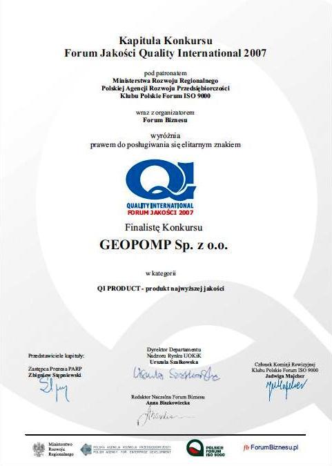 Certyfikat QI produkt GEOPOMP 2007r