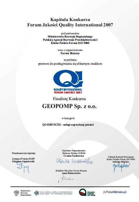 Certyfikat QI services GEOPOMP 2007r