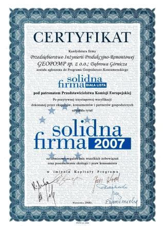 Certyfikat Solidna Firma PL GEOPOMP www