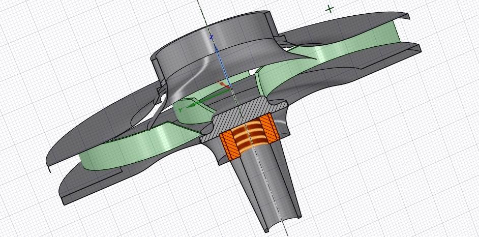 Wirnik do fontanny projekt 3D przekrój