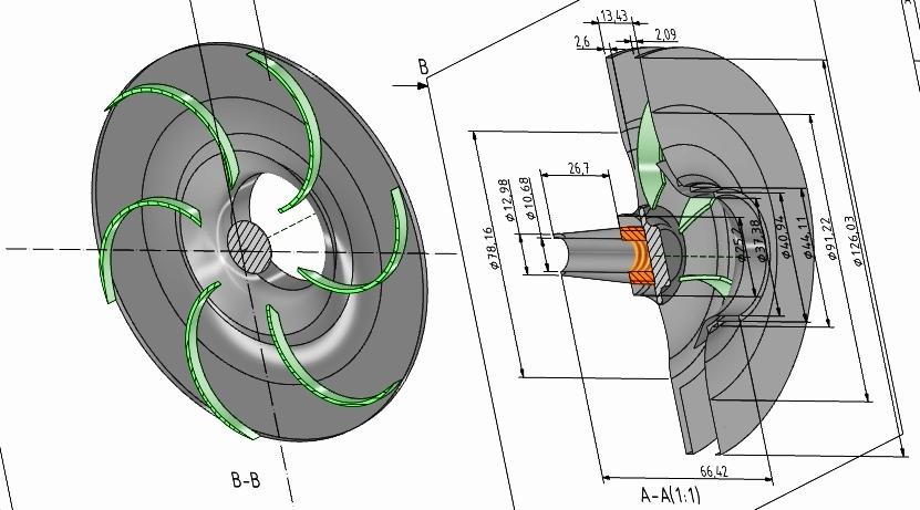 Wirnik do fontanny projekt 3D
