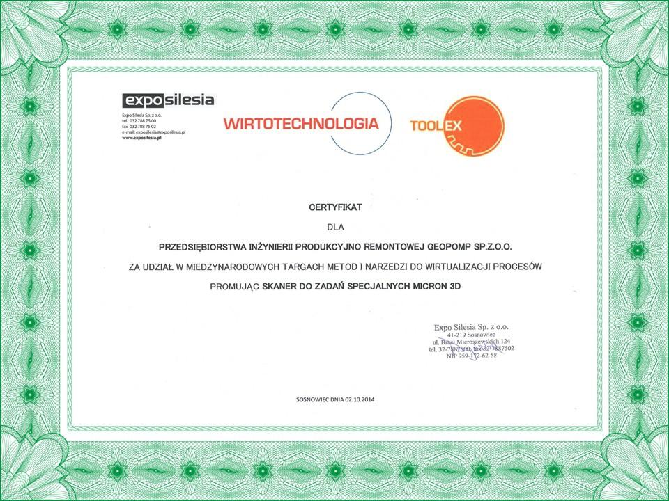 Certyfikat Targi 2014 Wirtotechnologia-GEOPOMP